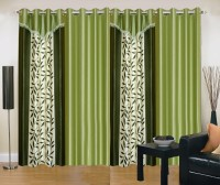Ville Style 214 cm (7 ft) Polyester Door Curtain (Pack Of 4)(Floral, Green, Pista)