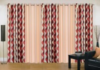 Ville Style 275 cm (9 ft) Polyester Long Door Curtain (Pack Of 5)(Abstract, Maroon, Beige)