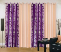 Ville Style 214 cm (7 ft) Polyester Door Curtain (Pack Of 4)(Abstract, Purple, Cream)