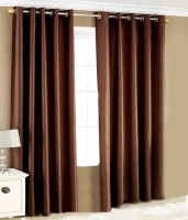 Urban Arts 274 cm (9 ft) Polyester Long Door Curtain (Pack Of 2)(Solid, Brown)