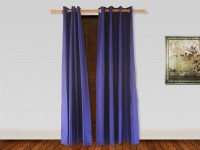 Veer Creations 210 cm (7 ft) Polyester Door Curtain (Pack Of 2)(Plain, Blue)