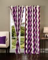 Export Hub 214 cm (7 ft) Polyester Door Curtain (Pack Of 2)(Printed, Purple)