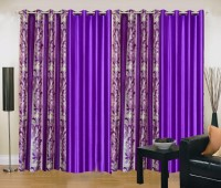 Ville Style 214 cm (7 ft) Polyester Door Curtain (Pack Of 4)(Abstract, Purple)