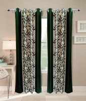 Red Hot 210 cm (7 ft) Polyester Door Curtain (Pack Of 2)(Floral, Green)