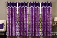 Stella Creations 275 cm (9 ft) Polyester Long Door Curtain (Pack Of 4)(Printed, Purple)