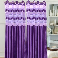 JT International 213.36 cm (7 ft) Polyester Door Curtain (Pack Of 2)(Floral, Purple)