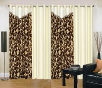 Ville Style 275 cm (9 ft) Polyester Long Door Curtain (Pack Of 4)(Abstract, Brown, Cream)