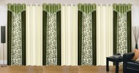 Ville Style 275 cm (9 ft) Polyester Long Door Curtain (Pack Of 7)(Floral, Green, Cream)