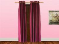 Veer Creations 210 cm (7 ft) Polyester Door Curtain (Pack Of 2)(Plain, Magenta)