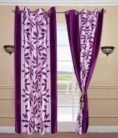 JT International 213.36 cm (7 ft) Polyester Door Curtain (Pack Of 2)(Geometric, Purple)