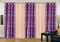 Ville Style 214 cm (7 ft) Polyester Door Curtain (Pack Of 5)(Abstract, Purple, Cream)