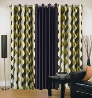 Ville Style 214 cm (7 ft) Polyester Door Curtain (Pack Of 3)(Abstract, Green, Black)