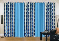 Ville Style 214 cm (7 ft) Polyester Door Curtain (Pack Of 5)(Abstract, Blue, Aqua)