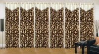 Ville Style 214 cm (7 ft) Polyester Door Curtain (Pack Of 6)(Floral, Brown)