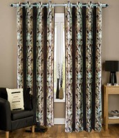 Urban Arts 274.32 cm (9 ft) Polyester Long Door Curtain Single Curtain(Floral, Brown)