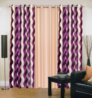 Ville Style 214 cm (7 ft) Polyester Door Curtain (Pack Of 3)(Abstract, Purple, Cream)