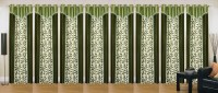 Ville Style 214 cm (7 ft) Polyester Door Curtain (Pack Of 8)(Floral, Green)