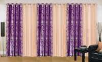 Ville Style 275 cm (9 ft) Polyester Long Door Curtain (Pack Of 6)(Abstract, Purple, Cream)