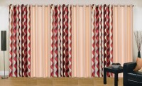 Ville Style 275 cm (9 ft) Polyester Long Door Curtain (Pack Of 6)(Abstract, Maroon, Beige)