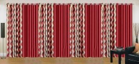 Ville Style 214 cm (7 ft) Polyester Door Curtain (Pack Of 8)(Abstract, Maroon)