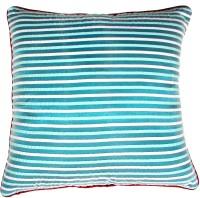 Homeblendz Striped Cushions Cover(40 cm*40 cm, Light Blue, White)