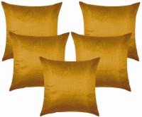Royal DecoFurnishing Plain Cushions Cover(Pack of 5, 40 cm*40 cm, Gold)