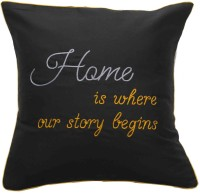Band Box Embroidered Cushions Cover(40.64 cm*40.64 cm, Black)