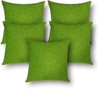 First Row Plain Cushions Cover(Pack of 5, 40 cm, Green)
