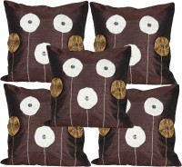 Mysha Floral Cushions Cover(Pack of 5, 41 cm*41 cm, Brown)
