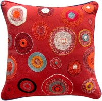 Aamori Embroidered Cushions Cover(Pack of 2, 40 cm, Red)