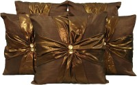 HOME SHINE Floral Cushions Cover(Pack of 5, 40 cm*40 cm, Brown)