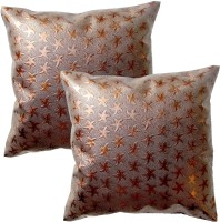 Homeblendz Floral Cushions Cover(Pack of 2, 30 cm*30 cm, Brown, Silver)