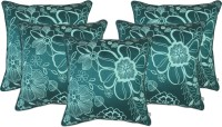 Zubix Floral Cushions Cover(Pack of 5, 40 cm*40 cm, Blue)