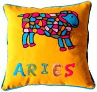 Homeblendz Embroidered Cushions Cover(40 cm*40 cm, Green, Orange)