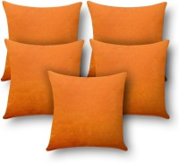 First Row Plain Cushions Cover(Pack of 5, 40 cm, Orange)