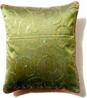Homeblendz Embroidered Cushions Cover(40 cm*40 cm, Green)