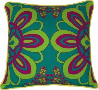 Fatfatiya Floral Cushions Cover(40 cm*40 cm, Green, Pink)