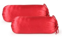 First Row Plain Bolsters Cover(Pack of 2, 77 cm, Red)