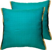 Ans Striped Cushions Cover(Pack of 2, 40 cm*40 cm, Dark Green)