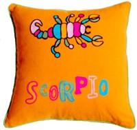 Homeblendz Embroidered Cushions Cover(40 cm*40 cm, Orange, Yellow)