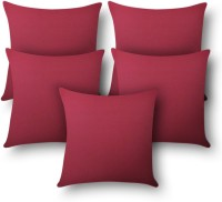 First Row Plain Cushions Cover(Pack of 5, 40 cm, Purple)
