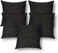 First Row Embroidered Cushions Cover(Pack of 5, 40 cm, Black)