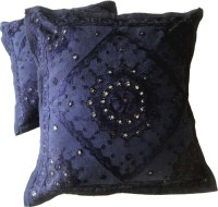 Amazing India Embroidered Cushions Cover(Pack of 2, 40 cm*40 cm, Blue)