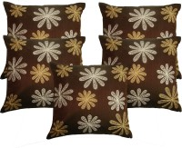 HOME SHINE Embroidered Cushions Cover(Pack of 5, 40 cm*40 cm, Brown)