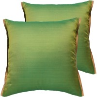 Ans Striped Cushions Cover(Pack of 2, 40 cm*40 cm, Green)