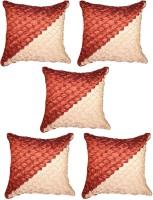 Mysha Geometric Cushions Cover(Pack of 5, 40.64 cm*40.64 cm, Red, Beige)