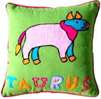 Homeblendz Embroidered Cushions Cover(40 cm*40 cm, Green, Yellow)