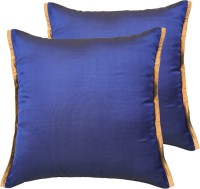 Ans Striped Cushions Cover(Pack of 2, 40 cm*40 cm, Dark Blue)