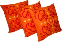 Sriam Embroidered Cushions Cover(Pack of 3, 45 cm*45 cm, Orange)
