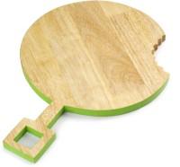 Poppadum Art Omnomnom Chopping/Serving Platter - Round Wood Cutting Board(Clear, Green Pack of 1)